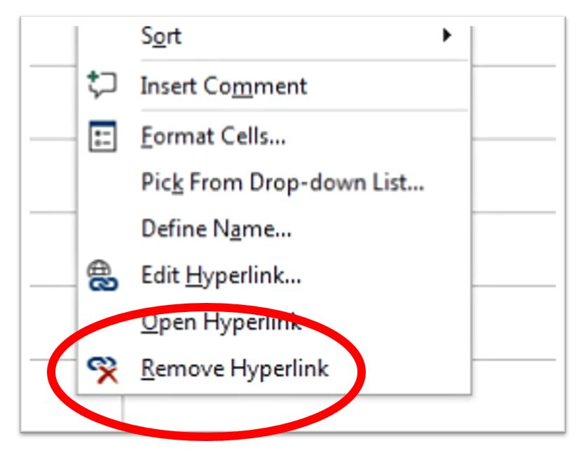 Remove hyperlinks from a dataset in Microsoft Excel