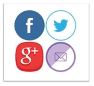 Social Media icons, Facebook, Twitter, Google+ and Facebook